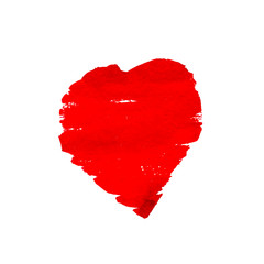 Hand-drawn painted red heart. vector element for your design