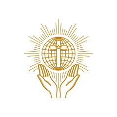 Church logo. Christian symbols. Praying hands are turned to the cross on the background of the globe.