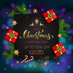 Merry Christmas sale banner with gift boxes golden stars and christmas tree branches on blue bokeh background. Vector illustration template greeting cards with hand lettering