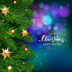 Holiday's Background with Season Wishes and Border of Realistic Looking Christmas Tree Branches With Gold Stars And Bubbles On Blue Bokeh Background. Vector illustration