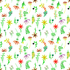 Cute watercolor floral seamless pattern. Green boh