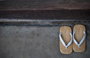 Close up of geta sandals