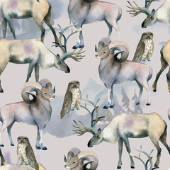 Seamless animal pattern, Watercolor background of stag and mutton on gray.
