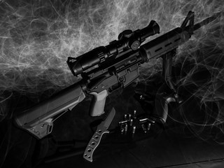 Light painting image done in black and white featuring a rifle, handgun, and tactical knife.