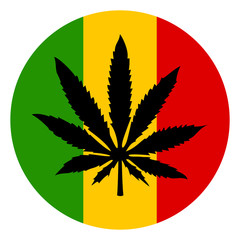 Marijuana and rastafarian tricolor icon