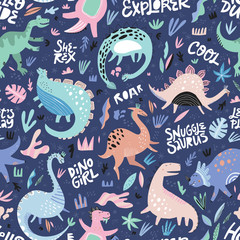 Cute dinosaurs hand drawn color vector seamless pattern
