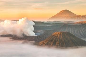 Landscape of Mount Bromo volcano during sunrise