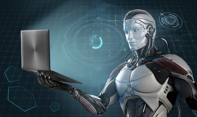 Robot holding laptop in right hand against digital virtual background