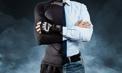 A man dressed in half in athletic clothing and in the other half in a business outfit on a blue, smoky background. The concept of practicing sports by businessmen, sports training. Wall mural
