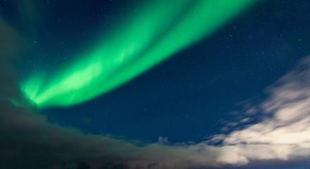 Northern lights arc on the sky