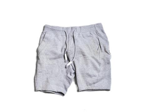 Sport gray mens shorts pants isolated on white background. Hype fashion magazine photo urban style.