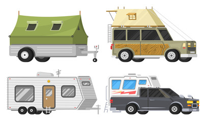 Trailers or family RV camping caravan. Tourist bus and tent for outdoor recreation and travel. Mobile home truck. Suv Car Crossover. Tourist transport, road trip, recreational vehicles.