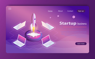 Startup 3d isometric style technology business concept web infographics vector illustration.