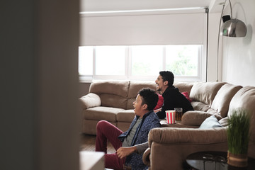 Happy Gay Couple Watching Sports Game On TV At Home