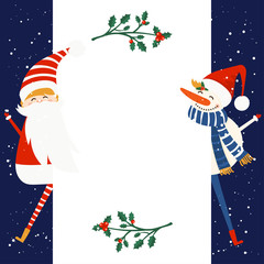 Merry Christmas and Happy New Year winter holidays greeting card with snowman and Santa Claus. Vector illustration