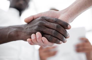 close up.handshake of international partners