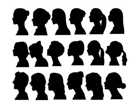 woman Face Avatar Silhouettes, art vector design