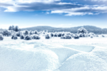 Composition of snow with free space for an advertising product