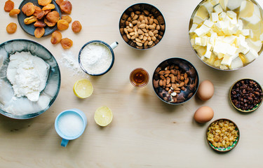 Varieties of ingredients for making pie kept on the table