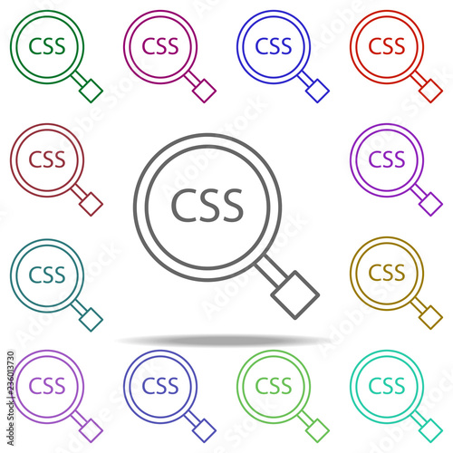 CSS search icon  Elements of online and web filled in multi color