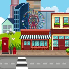 Urban town city background