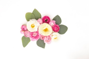 Overhead view of flower bouquet on white background