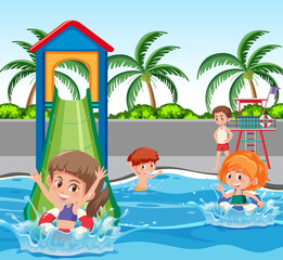 Children at water park