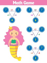 Mathematics educational game for children. Vector illustration. Theme mermaid sea, ocean, fish