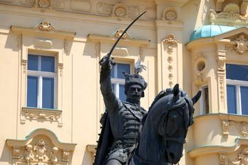 Historic statue of Croatian leader Ban Josip Jelacic on main square in Zagreb, Croatia.