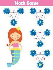 Mathematics educational game for children. Vector illustration. Theme mermaid sea, ocean, fish