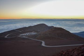Sunrise at the summit of Haleakala volcano on the island of Maui, Hawaii.