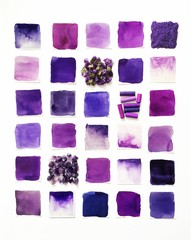 Purple amethysts, oil pastels and dried flowers on white background