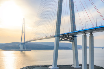 Suspended cable Russian bridge from the mainland of the Far-Eastern city of Vladivostok to the Russky island