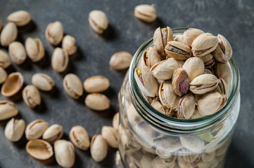 Close up of pistachios in jar