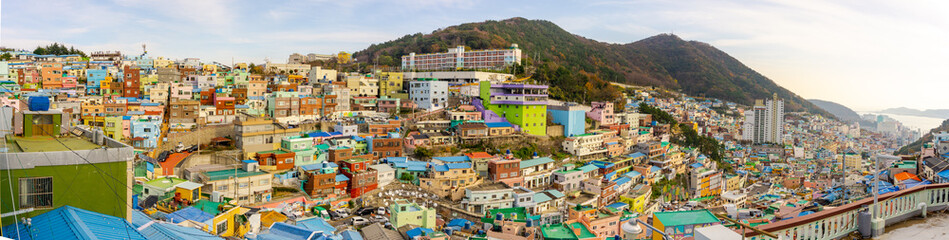 BUSAN, SOUTH KOREA - NOVEMBER 25, 2018: Panorama view of Gamcheon Culture Village, Busan, South Korea on November 25, 2018.