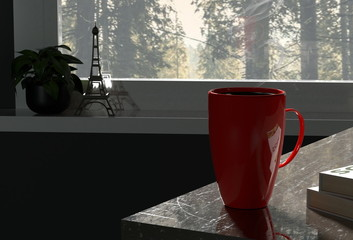 3d render of red coffee cup window view