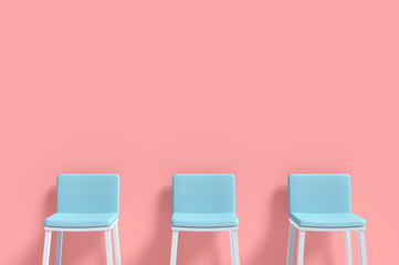 Three blue chairs Minimal concept