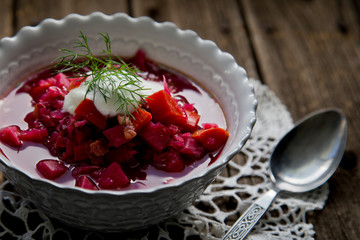 Close up of bowl of borscht soup