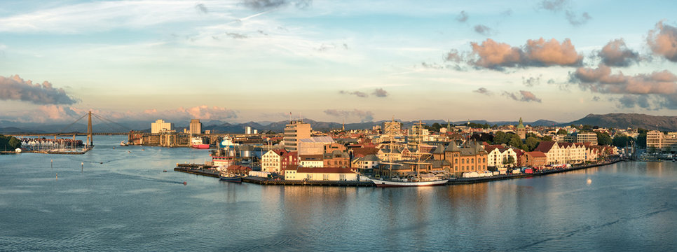Panoramic view of the Port, marina and city center of Stavanger, Norway.