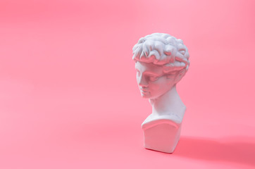 Ancient Athens sculpture,David sculpture, pink background