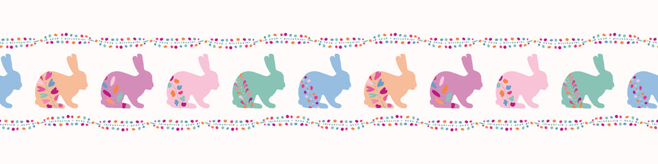 Vector Decorated Easter Bunnies Seamless Border. Rabbit Illustration with Folk Flowers. Hand Drawn Ethnic Animal for Spring Stationery, Baby Textile, Boho Fabric, Christian Celebration Packaging.