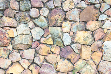 Seamless Brown pattern of decorative nature slate stone wall surface of modern style design decorative uneven cracked realmasonry wall of multicolored stones or blocks with cement or sandstone.