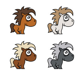Cartoon cute pony character in various colors
