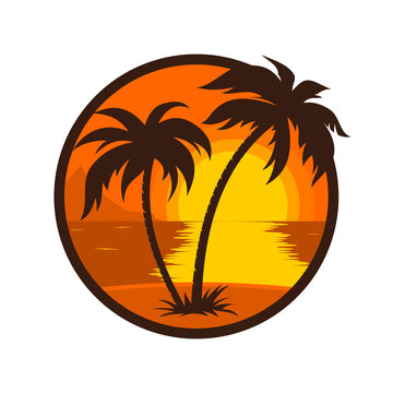 Tropical sunset with palm tree round icon