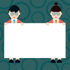 Business Empty template for Layout for invitation greeting card promotion poster voucher. Male and Female in Uniform Standing Holding Blank Placard Banner Text Space
