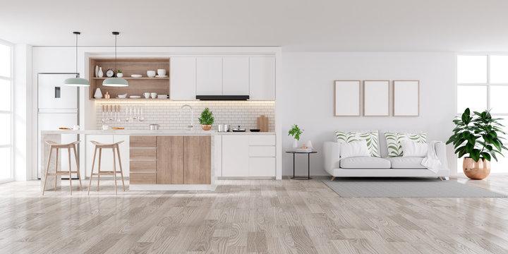 Modern white Home interior,living and kichen room  concept design,cozy house ,3drender