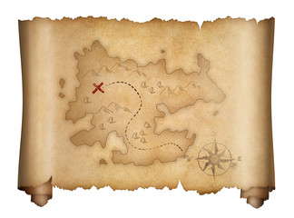 Wall Mural - pirates old treasure map isolated scroll