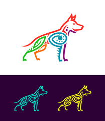 Colored dog outline silhouette in ethnic style