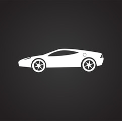 Car icon on black background for graphic and web design, Modern simple vector sign. Internet concept. Trendy symbol for website design web button or mobile app.