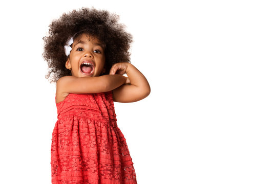 Portrait of cheerful african american little girl, isolated with copyspace